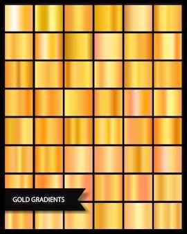 Colección de oro brillante degradado metálico elegante