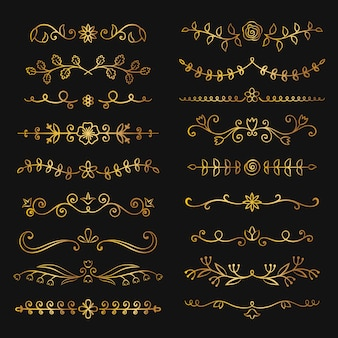 Colección de oro mano dibuja florecer divisores de texto.