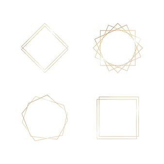 Colección de oro de marco geométrico elemento decorativo para tarjeta de invitación estilo art deco para boda ...