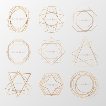 Colección de oro de poliedro geométrico, estilo art deco para invitación de boda, plantillas de lujo, patrones decorativos, ... elementos abstractos modernos, colección de vectores