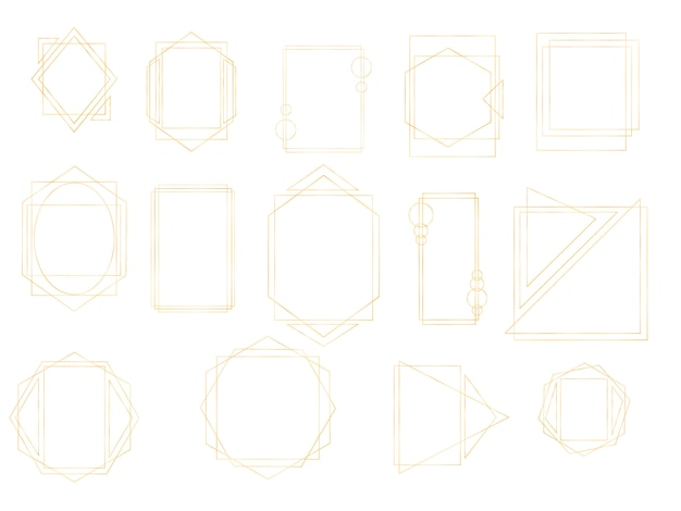 Colección de oro de poliedro geométrico. rectángulo realista vintage de lujo dorado