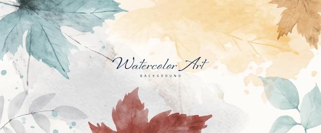 Colección otoño acuarela fondo abstracto con arce y hojas de temporada. arte natural de acuarela pintado a mano, perfecto para su encabezado, banner, web, pared, tarjetas, etc.