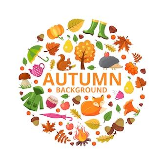 Colección otoño círculo. caída de animales de rama y hojas de color amarillo anaranjado símbolos de otoño diseños de decoración floral de forma redonda