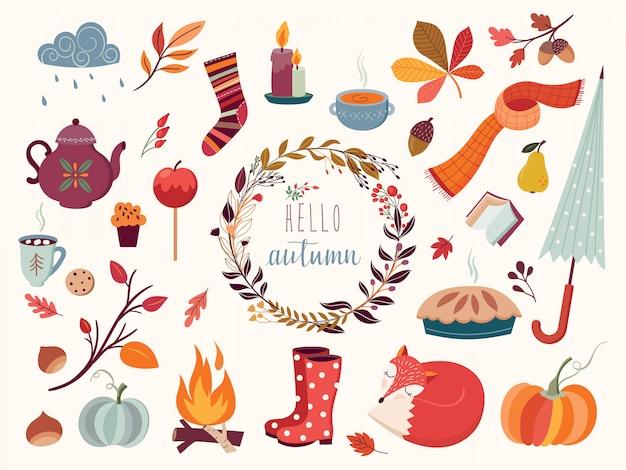 Colección otoño con elementos decorativos dibujados a mano.