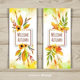 Colección de otoño estilo acuarela banner