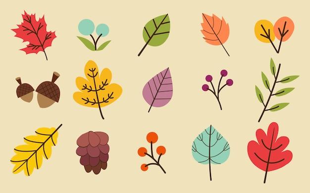La colección de otoño u otoño deja conjunto.
