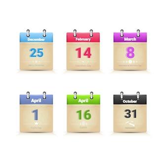 Colección de página de datos de calendario principales días de holday tradicionales establecen ilustración vectorial plana