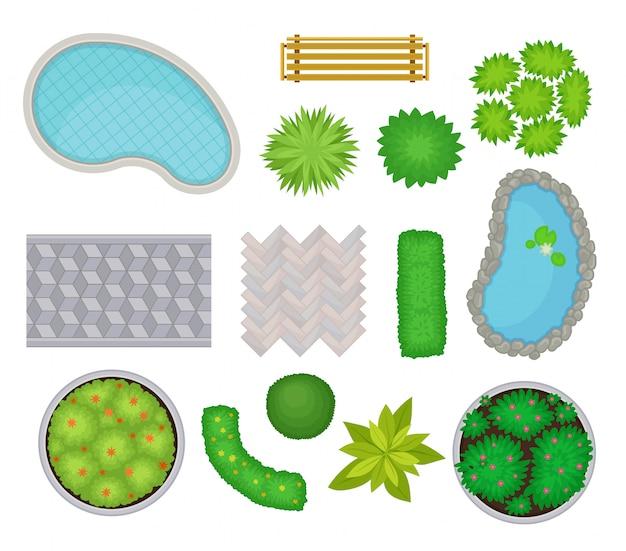 Colección para el paisaje. vista desde arriba. ilustración.
