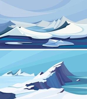 Colección de paisajes árticos. hielo paisajes de la naturaleza.