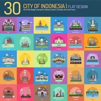 Colección de paisajes de ciudades de indonesía