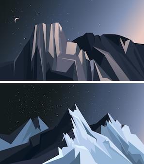 Colección de paisajes de la naturaleza. montañas en la noche.