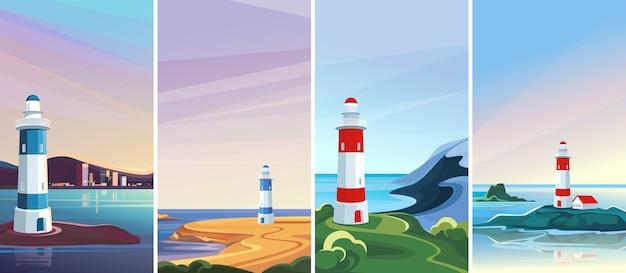 Colección de paisajes en orientación vertical