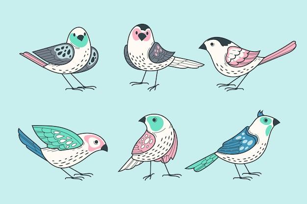 Colección de pájaros dibujados a mano