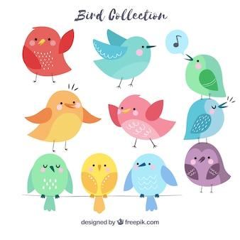 Colección de pájaros hechos a mano
