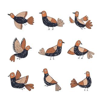 Colección de pájaros lindos dibujados a mano