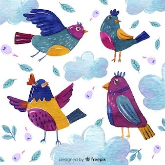 Colección de pájaros otoñales dibujados a mano