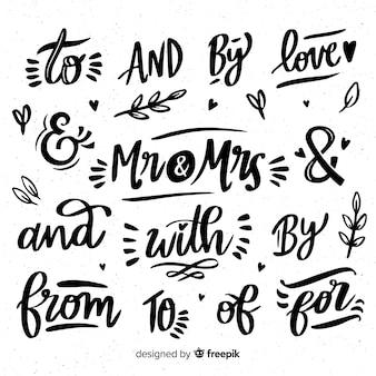 Colección de palabras de boda dibujadas a mano