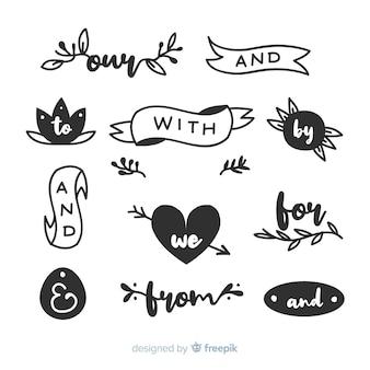 Colección de palabras decorativas de boda dibujadas a mano