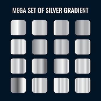 Colección de paleta de gradientes de plata de lujo