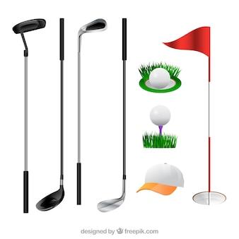 Colección de palos de golf y elementos