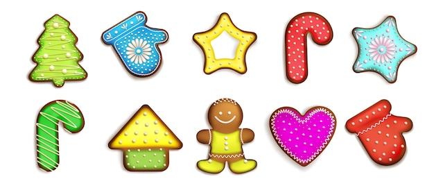 Colección de pan de jengibre colorido realista