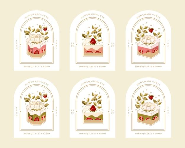 Colección de panadería vintage, pastelería, logotipo de pastel y etiqueta de alimentos con elementos de flor de fresa, rosa y peonía