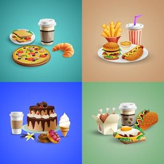 Colección de pancartas de comida rápida
