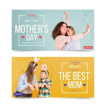 Colección de pancartas con concepto del día de la madre