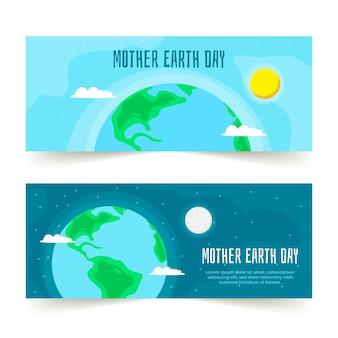 Colección de pancartas del día de la madre tierra