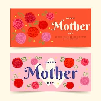 Colección de pancartas del día de las madres dibujadas a mano