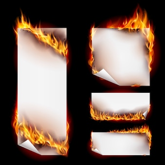 Colección de pancartas de fuego