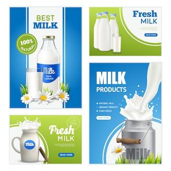 Colección de pancartas de leche fresca