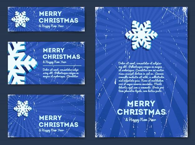 Colección de pancartas navideñas con copo de nieve
