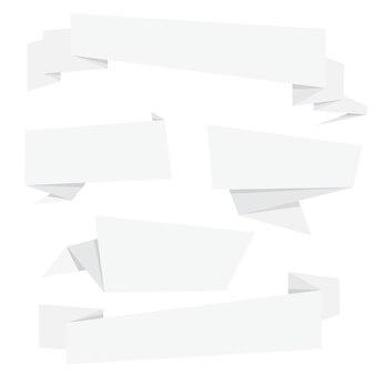Colección de pancartas de origami plegables de papel blanco