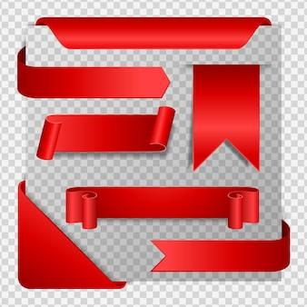 Colección de pancartas y pegatinas de papel rojo.