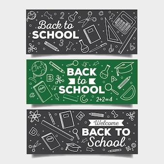 Colección de pancartas de regreso a la escuela de pizarra