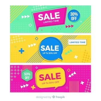 Colección de pancartas de ventas en estilo memphis
