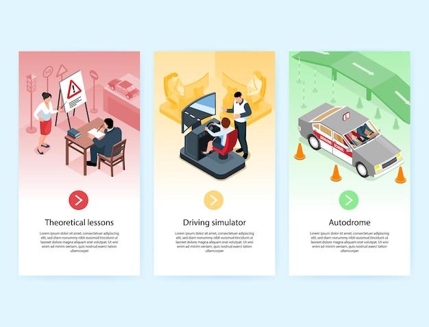 Colección de pancartas verticales de autoescuela isométrica con texto de botones en los que se puede hacer clic e imágenes de la ilustración del simulador de automóvil en el aula,