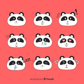 Colección pandas kawaii dibujados a mano
