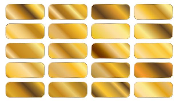 Colección de paneles degradados dorados.