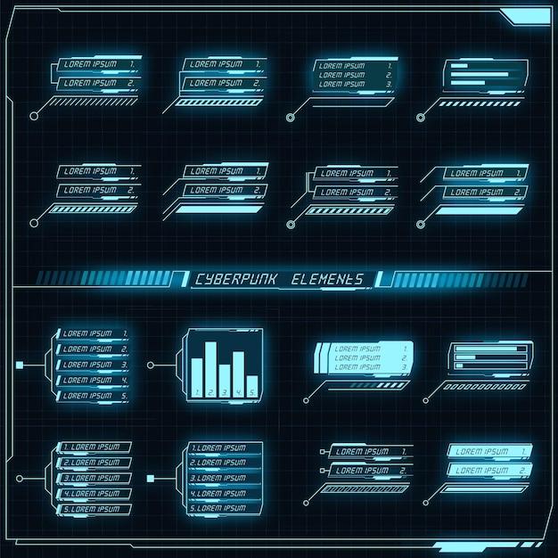 Colección de paneles futuristas de ciencia ficción de elementos de hud gui vr diseño de interfaz de usuario cyberpunk neon glow estilo retro