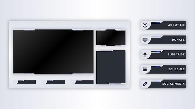 Colección de paneles twitch para plantilla de transmisión en vivo