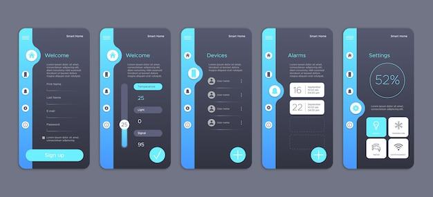 Colección de pantallas para aplicación de hogar inteligente