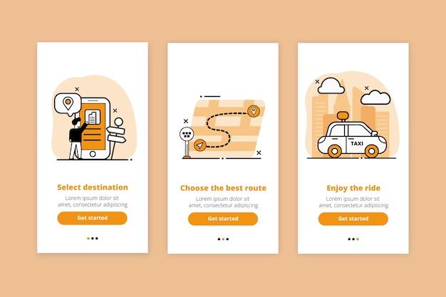 Colección de pantallas de la aplicación de incorporación del servicio de taxi