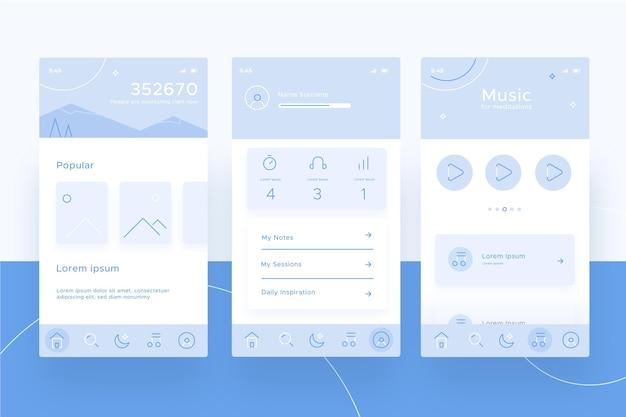 Colección de pantallas de aplicaciones de meditación