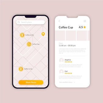 Colección de pantallas de aplicaciones de ubicación