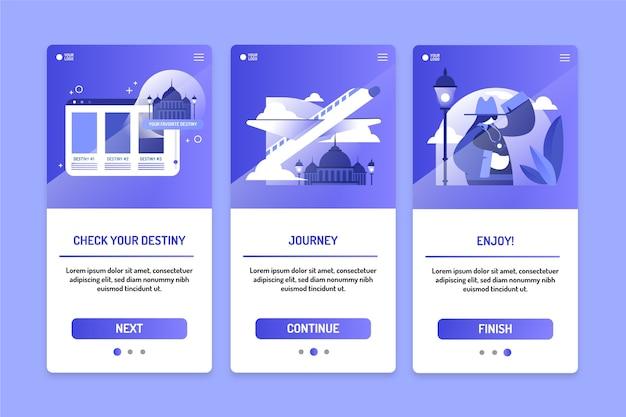 Colección de pantallas de aplicaciones de viaje