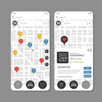 Colección de pantallas de plantillas de aplicaciones de ubicación
