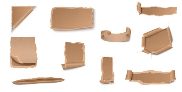 Colección de papel artesanal harapiento y rasgado