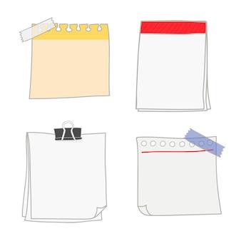 Colección de papel de escritura en blanco